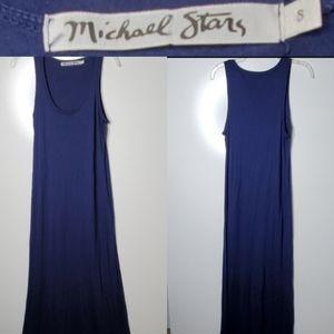 S MICHAEL STARS SCOOP NECK NAVY MAXI DRESS small